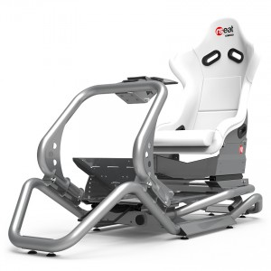 Rseat N1 White Seat / Silver Frame Racing Simulator Cockpit
