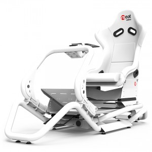 Rseat N1 White Seat / White Frame Racing Simulator Cockpit