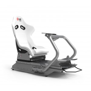 Rseat S1 White Seat / Silver Frame Racing Simulator Cockpit